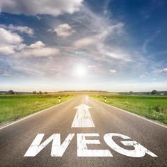 Straße mit dem Wort Weg