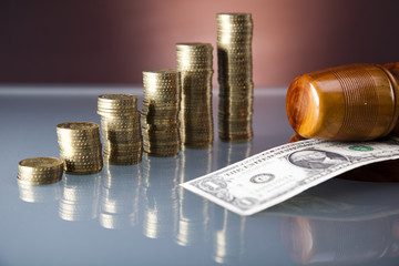 Wooden gavel and money,one dollar,