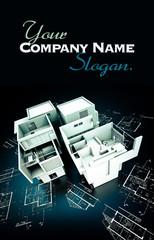 Designer Modern building on blueprints