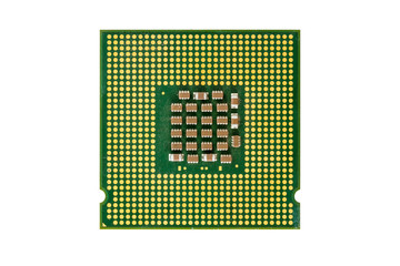 microprocessor chip electronic components isolate on white backg