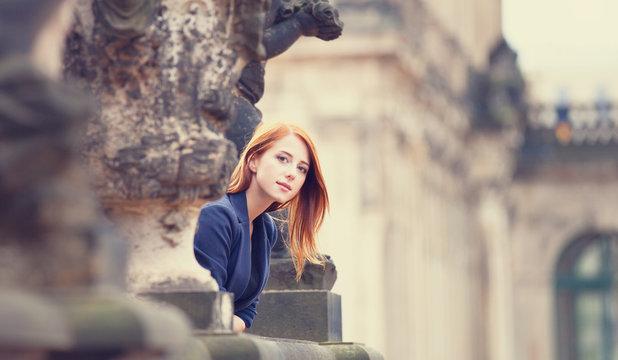 Portrait of a beautiful redhead girl in Dresden