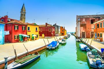 Foto op Plexiglas Venetie Venice landmark, Burano canal, houses, church and boats, Italy