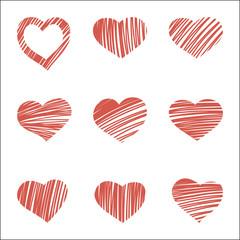 set of nine hand drawn hearts
