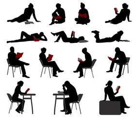 silhouettes of people reading books - vector