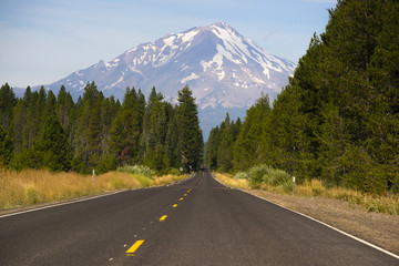 California Highway Heads Toward Mountain Landscape Mt Shasta CA