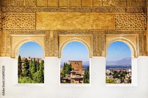 Wall mural Windows at the Alhambra, Granada, Spain.