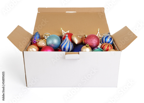 christmas decorations in a white cardboard box on white - Cardboard Box Christmas Decorations