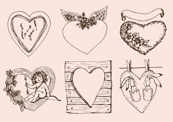 Vintage hearts for Valentines Day