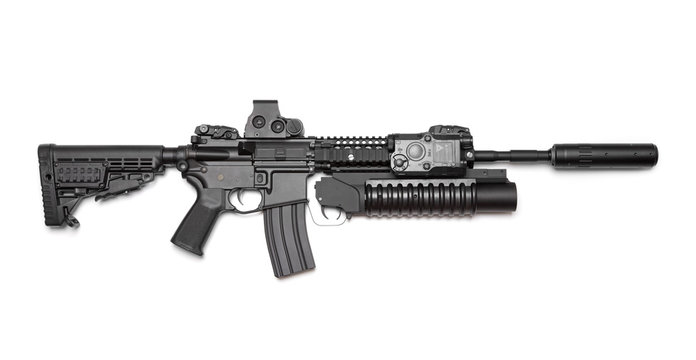 AR-15 (M4A1) carbine isolated on white background.
