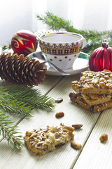 сhristmas cookies with nuts on a table