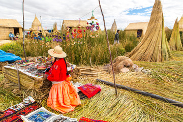 Lake Titicaca Puno, Peru, South America, thatched home.