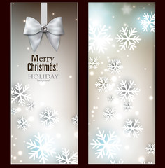 Holiday banners with ribbons. Vector background.