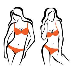 sexy woman silhouettes, underwear