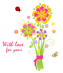 Cartoon with greeting bouquet