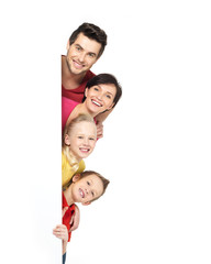 Wall Mural - Family with a banner