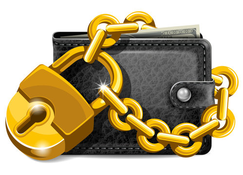 Wallet with padlock