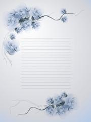 Wild dog rose / Floral vintage letter in blue colors