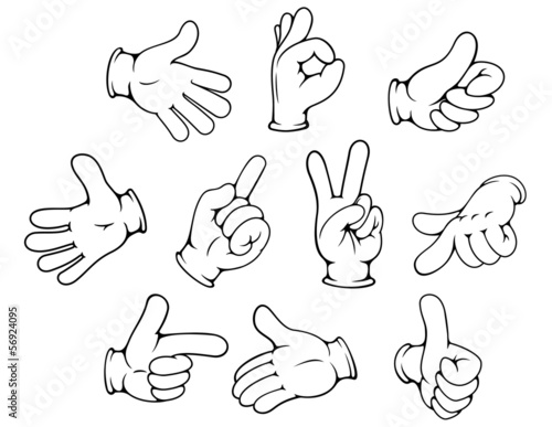 Cartoon Hand Gestures Set Stock Image And Royalty Free Vector Files