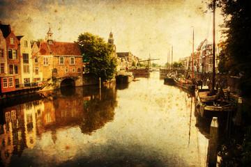 Fotomurales - antik texturiertes Bild von Delfshaven in Rotterdam
