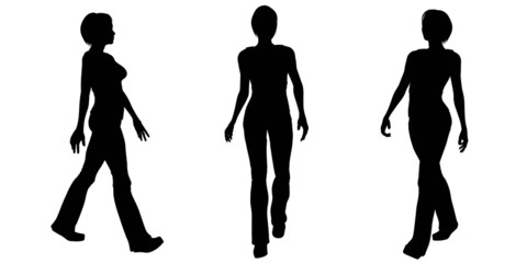 Woman Walking Silhouettes - 1