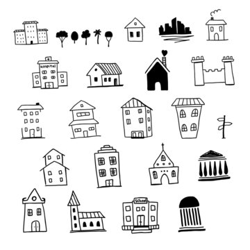Hand drawn house set