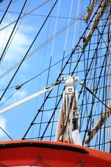 Masts and rope of sailing ship.
