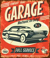 Grunge retro car service sign. Vector illustration.