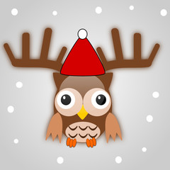 Snowflake background with owl