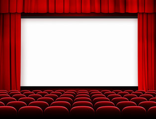 cinema screen with red curtains and seats