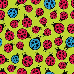 Ladybugs seamless background. Vector illustration.