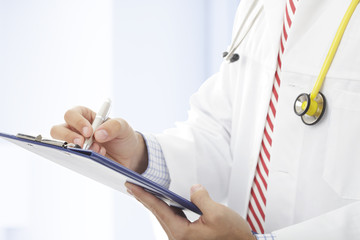 Filling out medical document