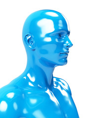 3d rendered illustration of an abstract blue  male