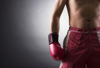 Boxer wearing a glove