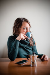 beautiful woman having breakfast
