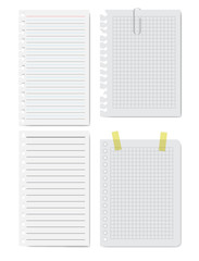 Collection of white papers. Vector illustration.