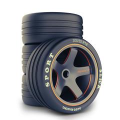 Slick wheels kit for race car