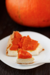 Pie with pumpkin and cream cheese.
