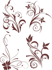 Set of floral background with decorative branch