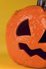 Close up of a halloween pumpkin