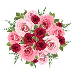 Roses bouquet. Vector illustration.