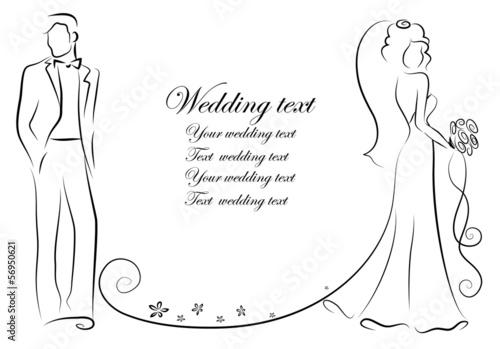 Шаблон жениха и невесты для открытки 66