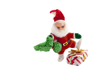 Santa Claus Dancing Over Wrapped Christmas Gift