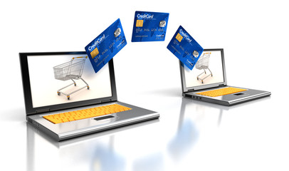Laptops and Credit Cards (clipping path included)