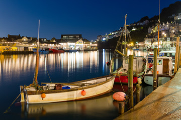 Looe Harbour at Night Cornwall England