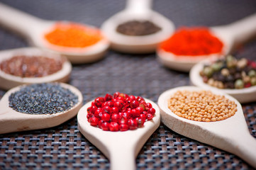 Various kind of spices on wooden spoon -  detail of red pepper