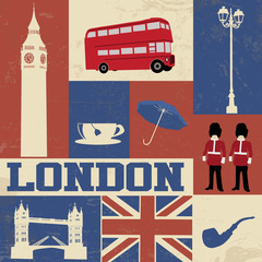 Papiers peints Doodle London Symbols Poster