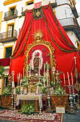 Religious altar in the street, Corpus Christi, Seville