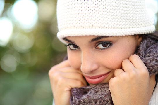 Beautiful arab woman portrait warmly clothed