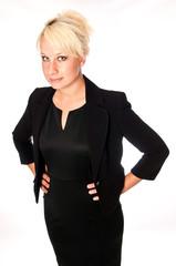 Caucasian woman in a black business suit