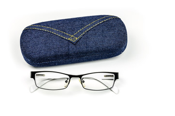 closeup of eye glasses with box